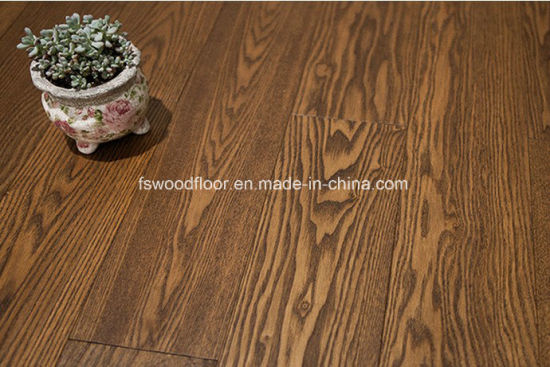 China Coffee Brown Hand Scraped White Ash Solid Wood Flooring