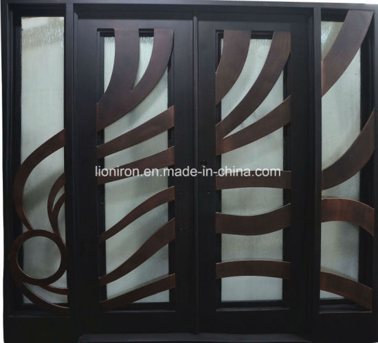 Double Iron Swing Doors Decorative Iron Entry Door Cheap Entrance Metal Doors