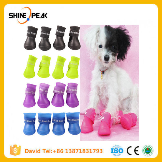 4PCS Pet Dog Shoes Waterproof Rain Pet Shoes for Small Dogs Puppy Rubber Boots Candy Color Puppy Shoes Pet Dog Products