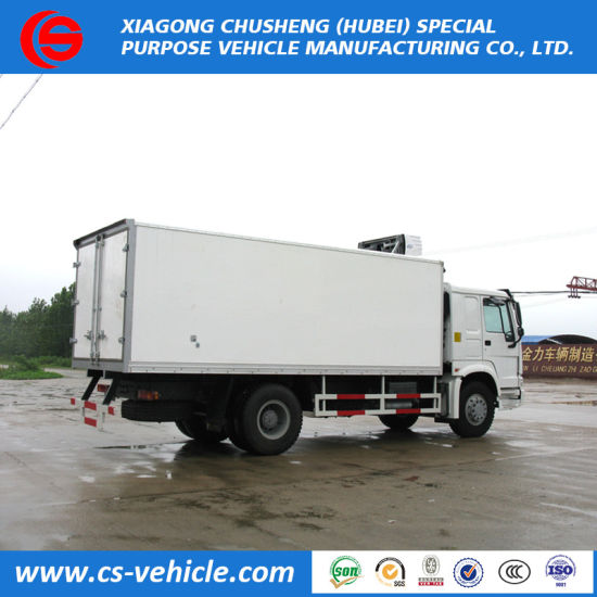 Sinotruk HOWO 4X2 Thermo King Fish Meat Transport Fresh Goods Refrigerated  Truck with Cold Room