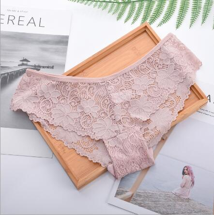 Ladies Low-Waisted Lace Underwear Women's Underpant Sexy Lingerie Panty
