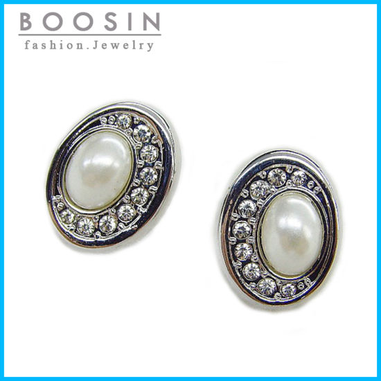 Factory Wholesale Round Disc Pearl Earring with Rhinestones #22296 pictures & photos