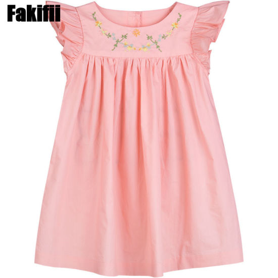 2019 New Collection Baby Pink Embroidery Dress Kid Girl Clothing