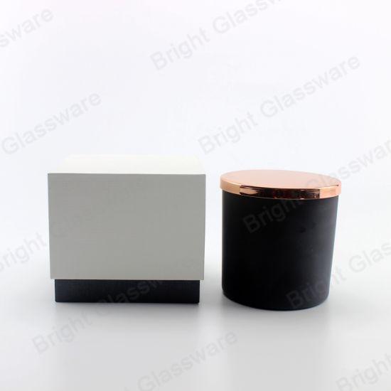 Matte Black Glass Candle Holder for Home Decoration