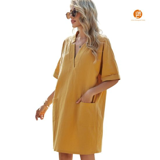 Shangyan Womens Casual V Neck Short Sleeve Pocketed Cotton Dress
