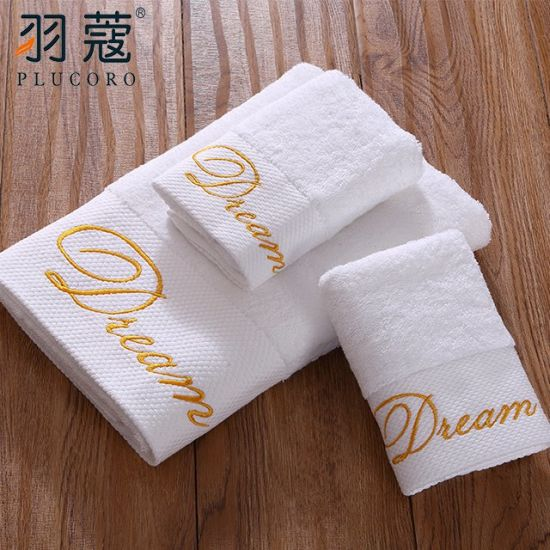 100% Cotton White Border With Embroidery Logo Hotel Towel For Luxury Hotels