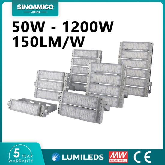 IP66 Aluminum LED Floodlight 100W 200W 300W 480W 600W 150lm/W for Tunnel, Stadium, Industrial, Workshop, High Mast Outdoor Lighting with Ce, 5 Years Warranty