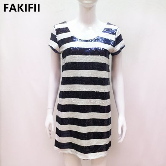 Fakifii Summer Holiday Women Party Wear Dress Ladies Dress Women Short Sleeve Elegant Stripe Sequins Dress