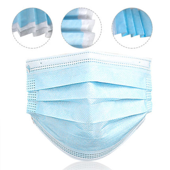 China Manufacturer 3 Ply Disposable Non Woven Face Mask Blue for Lady