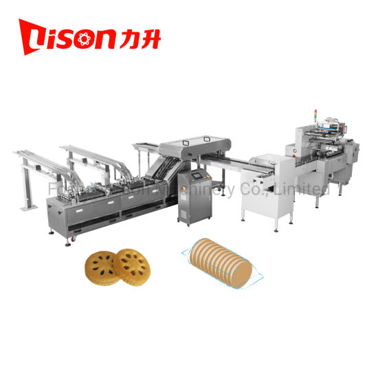 CE New Design Cream Filling Soft and Hard Biscuit Sandwiching Machine with on-Edge Packing Machine