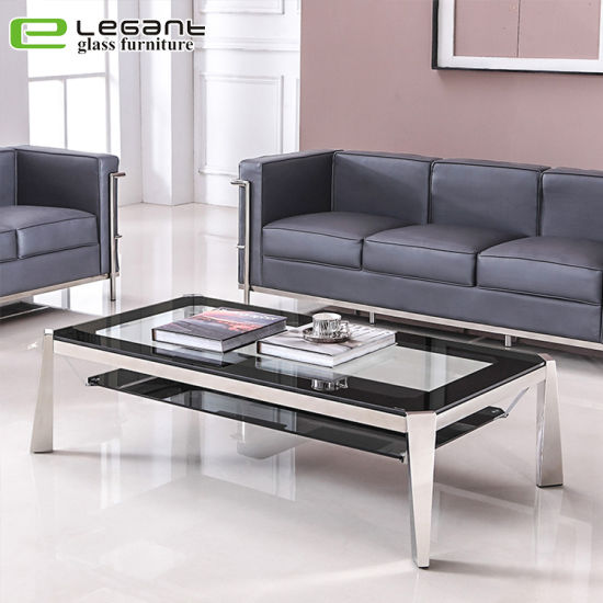 China Stainless Steel Table Tempered Glass Coffee Table China