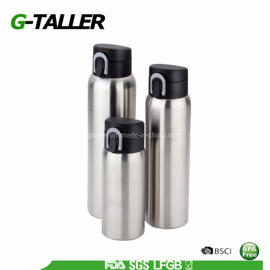 Double Wall Stainless Steel Thermo Flask Sport Bottle with One Push Cap