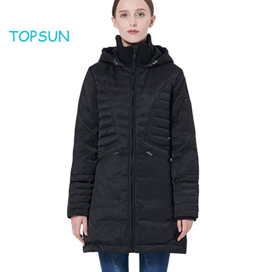 Girl's New Styles Black Apparel Wear Puffer Thickened Down Jacket Winter Thick Hooded Coat