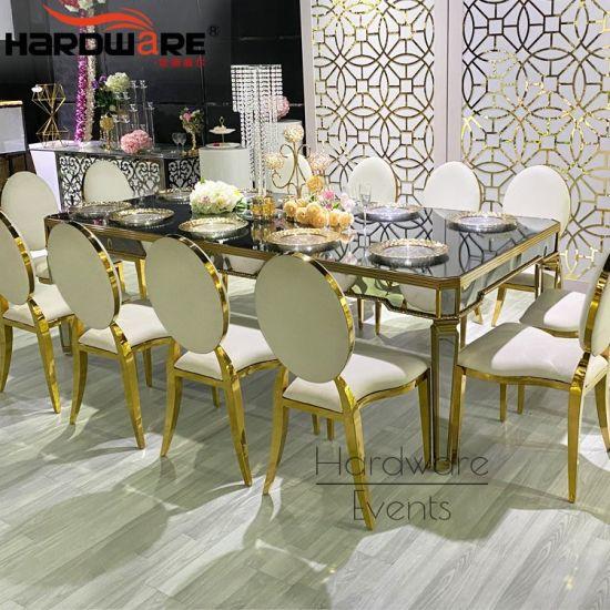 China Wedding Furniture Glass Top Stainless Steel Modern Dining Table Set China Half Circle Wedding Table 10 Seater Dining Table