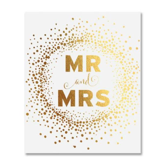 Custom Bride Groom Wedding Signage Gold Foil Print Poster