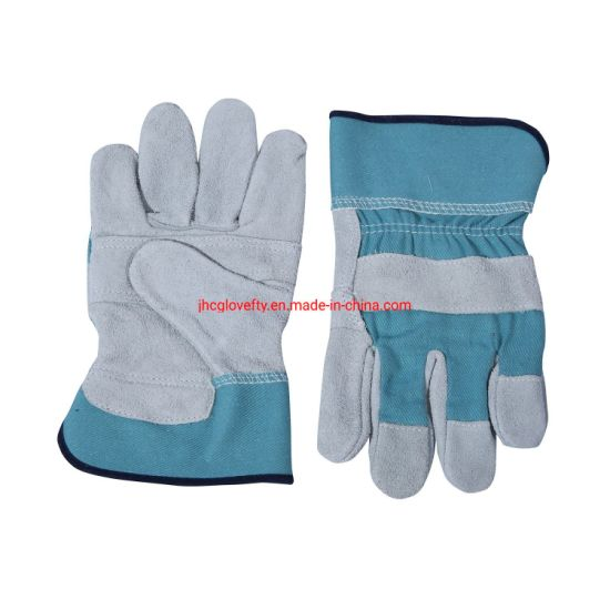 Split Leather Work Gloves with Blue Cotton Cuff
