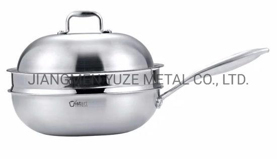 Tri-Ply Stainless Steel Chinese Wok, Deep Frying Pan, Saute Pan, Professional Kitcheware