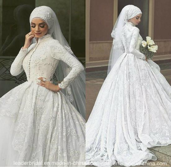 16352bacc9e2c Arabic Bridal Ball Gown Custom Long Sleeves Muslim Lace Wedding Dress Lb1922