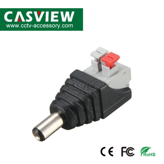 Surveillance Connect DC Male Plug Without Screw 2 Pin Spring Connector Easy Installation pictures & photos