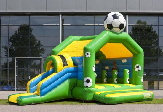 Funny Soccer Theme Inflatable Jumping Bouncer with Slide for Kids pictures & photos