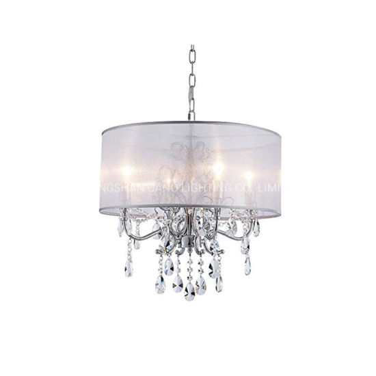 Factory Price Home Fabric Shade Classic Crystal Chandelier