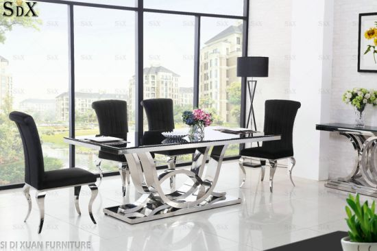 Quality Products Stainless Steel Furniture Restaurant Tables Chairs Glass  Dining Table