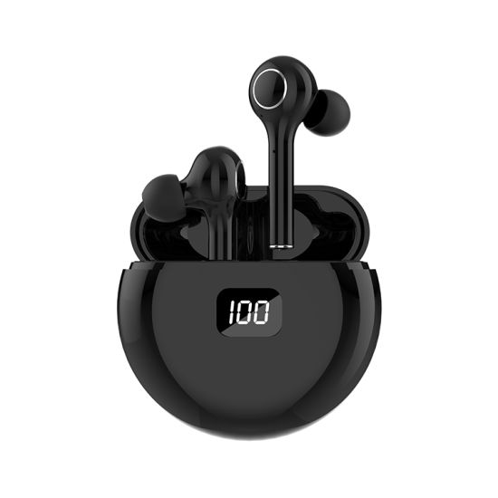 Half in-Ear Bluetooth Earphones with LED Power Display Support Dual Calling Smart Touch Control Bt5.0 Wireless Headset Type C Rechargeable White / Black Tw13