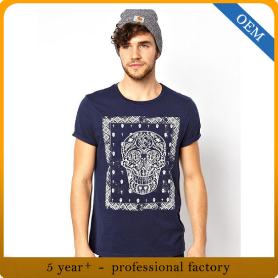 Custom High Quality Men 100% Cotton Printing Round Neck T-Shirt pictures & photos