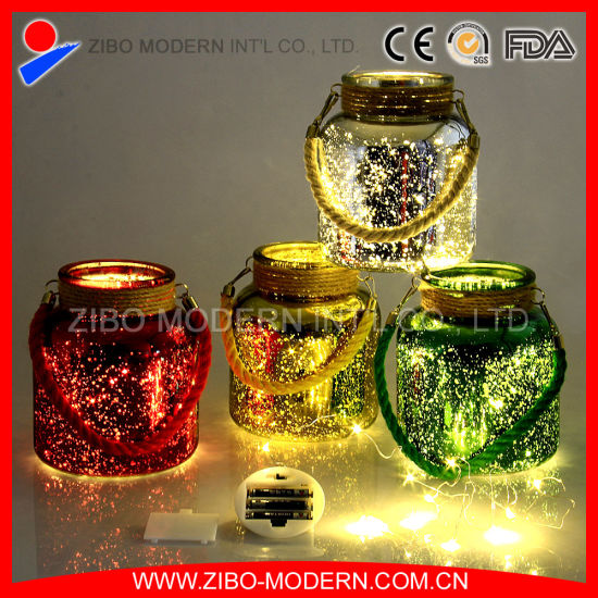Wholesale Colored Glass Jar with LED Lighting Hanging Candle Holders pictures & photos