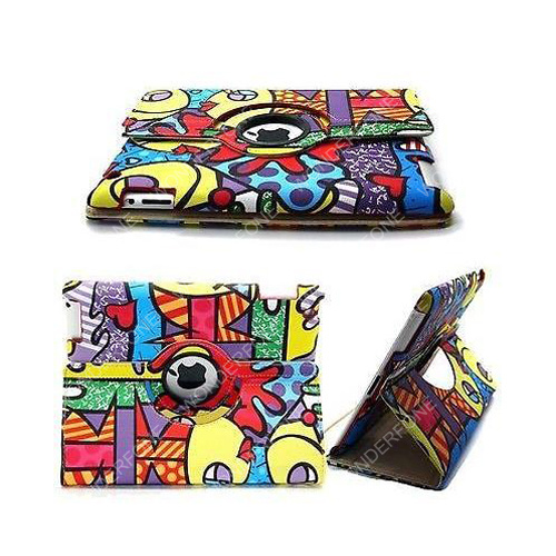 Graffiti 360 Degree Rotating Stand Leather Case for iPad pictures & photos