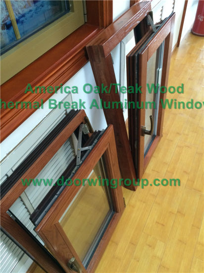 Double Glazing Tilt & Turn Window with Imported Hardware, Aluminum Clad Solid Oak Wood Casement Window with Blinds Inside pictures & photos