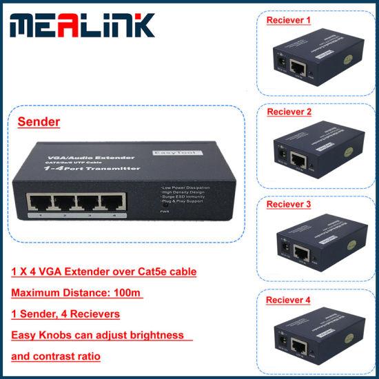China 100m 1 to 4 VGA Extender Over Cat5e Cable - China VGA