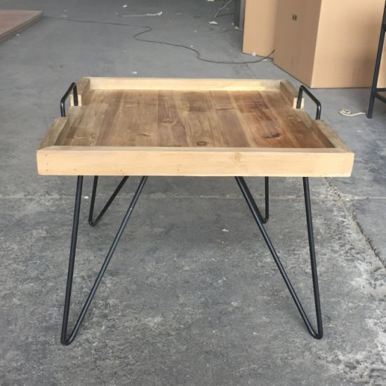 Fantastic Small Industrial Tray Metal Reclaimed Wood Square Coffee Table Machost Co Dining Chair Design Ideas Machostcouk