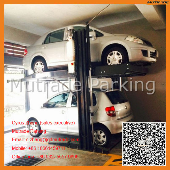 High End Mutrade Electrical Electric Hydraulic Motor Two Level Column Leg Car 2 Post Parking Lift pictures & photos
