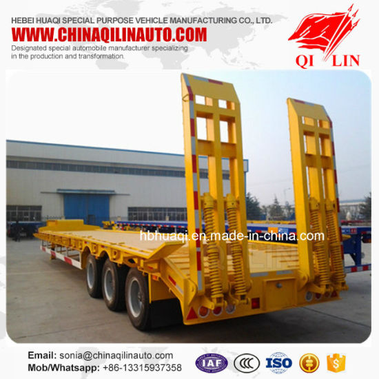 50 Ton Tri-Axle Extendable Low Bed Semi Truck Trailer pictures & photos