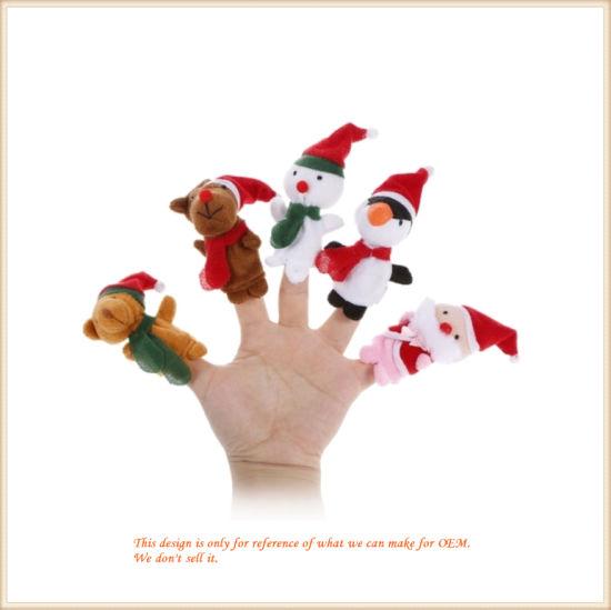 Finger Puppet Cute Cartoon Christmas Plush Toys Finger Doll