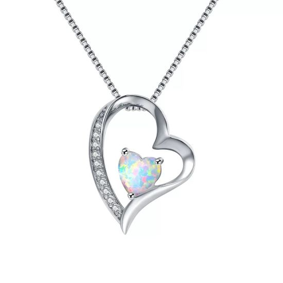 925 Sterling Silver CZ Pave Custom Blue Opal Heart Pendant Necklace pictures & photos