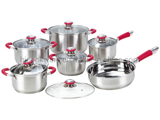 12 PCS Stainless Steel Cookware Set with Silicone Classic Handle