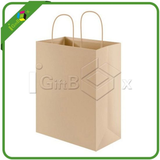 Eco-Friendly Natural Brown Kraft Paper Bag with Twisted Handles pictures & photos