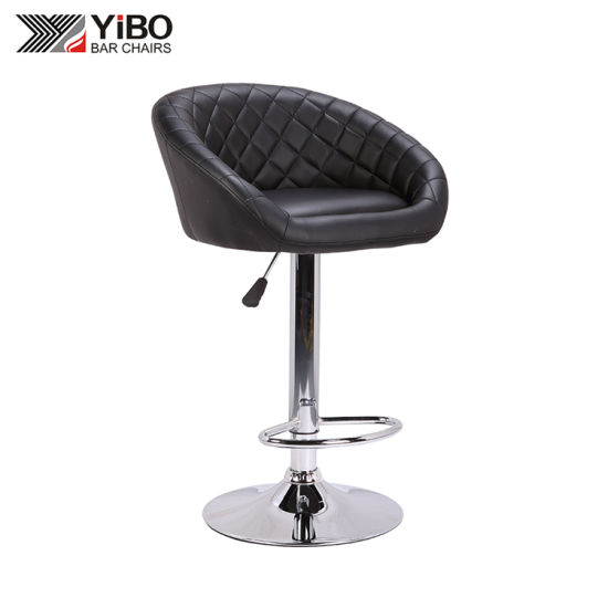 Customized Swivel Breathable Leather Bar Chair with Chromed Base