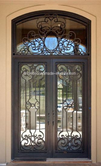 High Quality Swing Round Top Exterior Wrought Iron Door