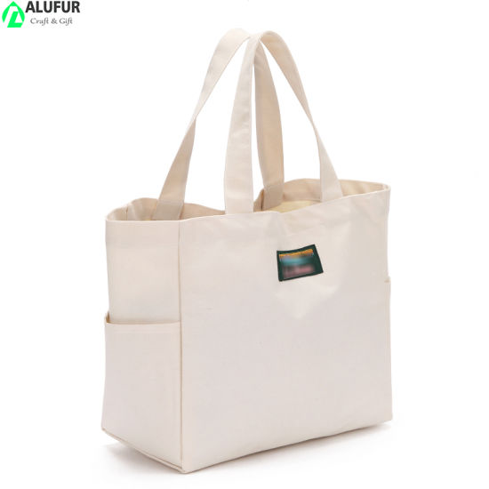 Soft Cotton Tote Hand Bag with Side Pockets