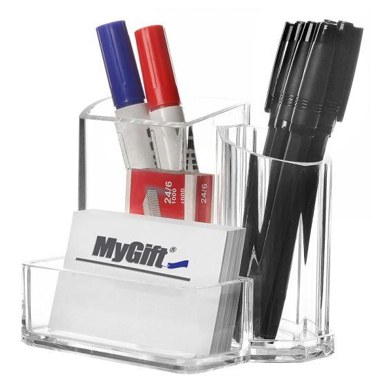 Clear Acrylic 3 Compartment Modern Desktop Office Supplies
