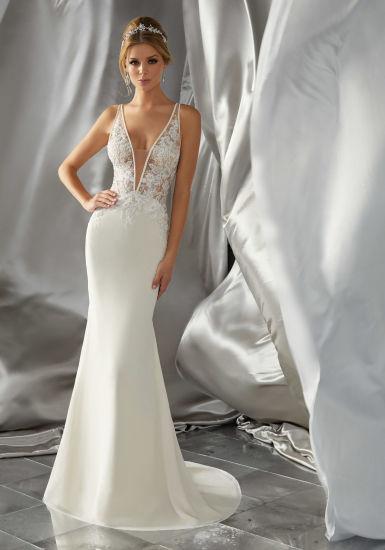 China V-Neckline Bridal Gown Sheer Bodice Lace Wedding Dress Gv1604 ...