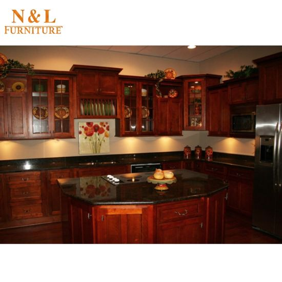 China N&L Real Cherry Oak Solid Wood Kitchen Cabinet - China Solid ...