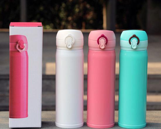 Japan Flip Type Double-Wall Stainless Steel Sports Water Bottle, Vacuum Drink Cup
