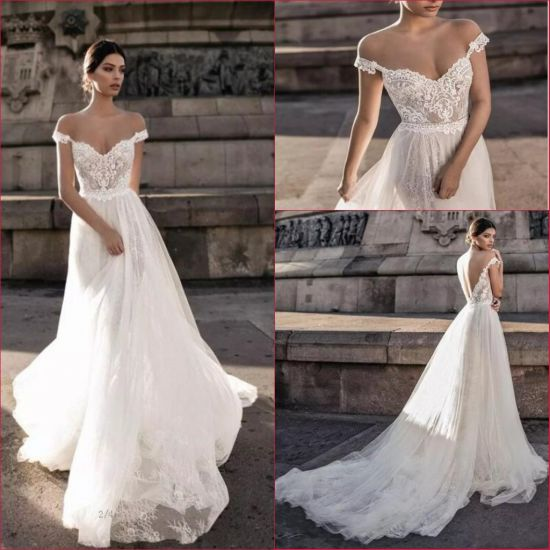 Perfect bride V Neck Wedding Dress Beaded A-line Bridal Ball Gown Custom Size