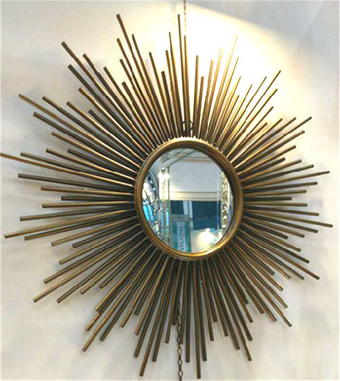 Sun-Shaped Nordic Style Metal Wall Art Decoration Mirror for Home