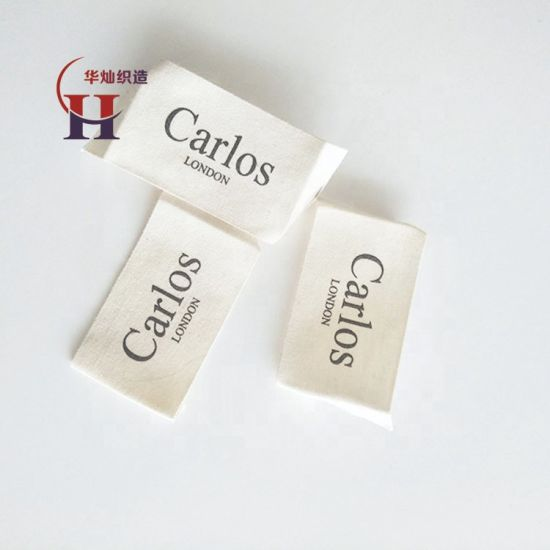 Customized Design One Color Print Natural off White Clothing Label