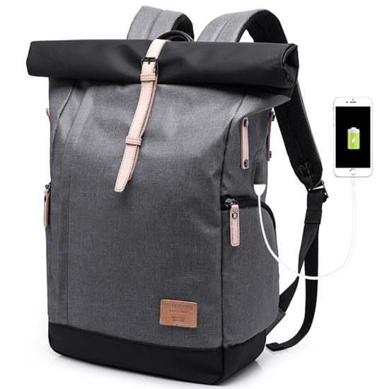Men Double Shoulder Big Capacity College Leisure Travel Laptop Pack Backpack Bag with USB (CY1816)